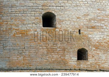 Shlisselburg, Saint Petersburg, Russia - August 21, 2017: Wall  Of The Oreshek Fortress.  Medieval R