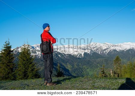 Dreaming Adventurer, Photographer Is Standing On The Mountain Slope, Admiring The  Mountain Range, C
