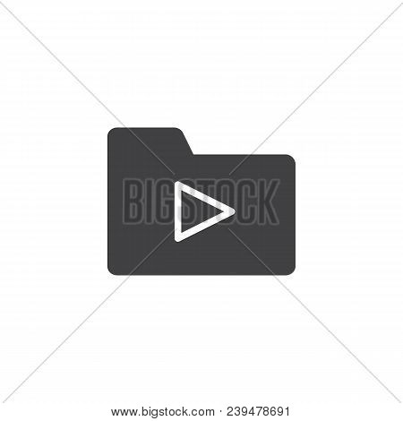 Media Folder Vector Icon. Filled Flat Sign For Mobile Concept And Web Design. Folder With Play Butto
