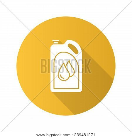 Motor Oil Flat Design Long Shadow Glyph Icon. Plastic Jerry Can With Liquid Drops. Fuel Container. V