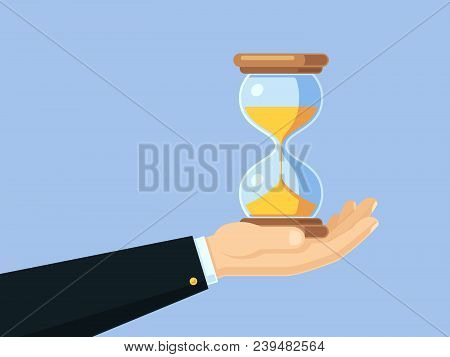 Cartoon Businessman Hand Holding Antique Hourglass. Time Management Vector Business Concept With San