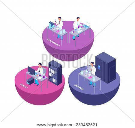 Chemistry 3d Isometric Research Lab With Chemical Laboratory Equipment And Creative People Vector Il