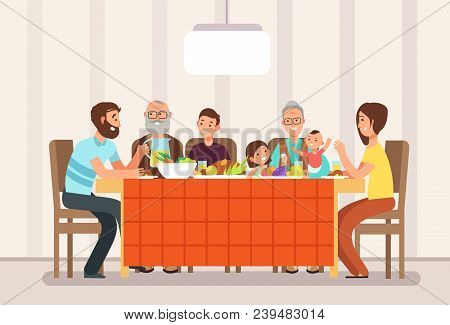 Big Happy Family Eating Lunch Together In Living Room Cartoon Vector Illustration. Lunch Family, Fat