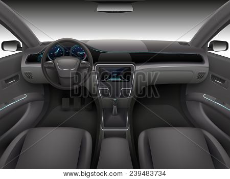 Realistic Car Interior With Rudder, Dashboard Front Panel And Auto Windshield Vector Illustration. A