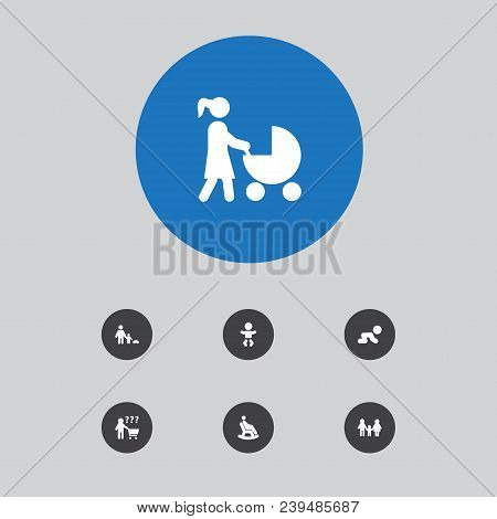 Set Of 7 Relatives Icons Set. Collection Of Crawling Kid, Man In Armchair, Lineage And Other Element