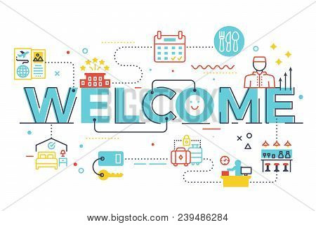 Welcome Word Lettering Illustration With Icons For Web Banner, Landing Page, Essay, Etc.