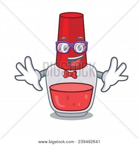 Geek Nail Polish Character Cartoon Vector Illustration