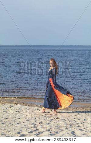 Beautiful Cute Pretty Redhead Female Teenager In Long Dress