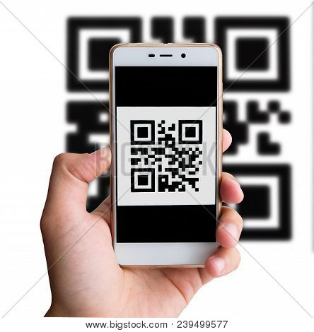 Qr Code Payment Transaction Using Mobile Smartphone. Cashless Concept