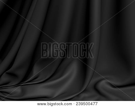 Beautiful Black Silk. Drapery Textile Background. Abstract Soft Elegant Satin