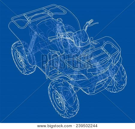 Atv Quadbike Concept Outline. Vector Rendering Of 3d. Wire-frame Style. The Layers Of Visible And In
