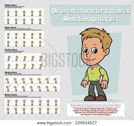 Cartoon Boy Character Big Vector Animation Sprites Sheet Set. Different Stances. Simple, Anger, Comb