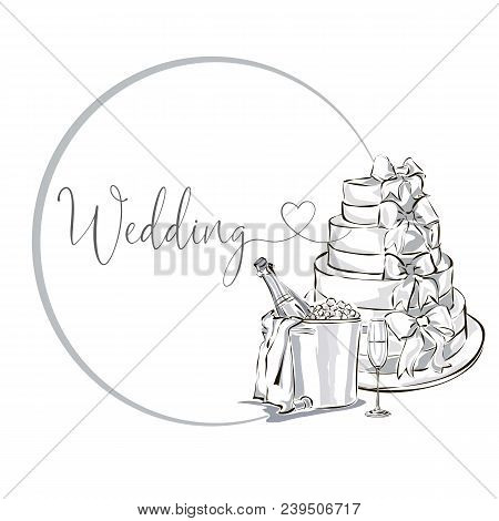 Wedding Clip Art Set With Champagne Bottle In Ice Bucket, Wine Glass And Wedding Cake, Black And Whi
