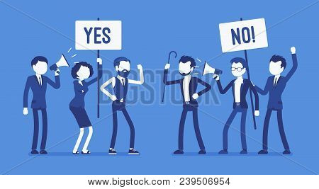 Pros And Cons. Active People At Gathering To Decide Advantages, Disadvantages, Ideas For And Against
