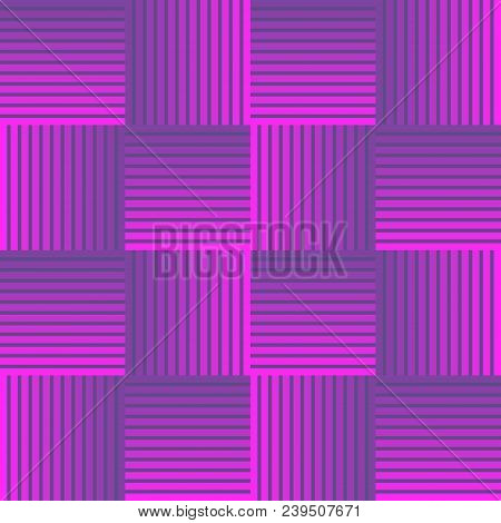 Ultraviolet Checker Patterns Composed Of Stripped Squares, 3d Illusion, Optical Art Design, Seamless
