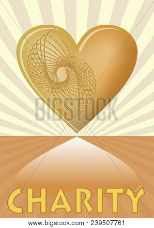 Charity Leaflet With Golden Heart On Background With Golden Rays, Vector Eps 10