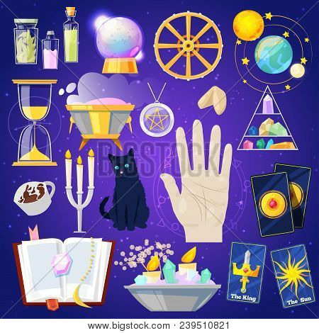 Fortune Telling Vector Fortune-telling Or Fortunate Magic Of Magician With Cards And Candles Illustr