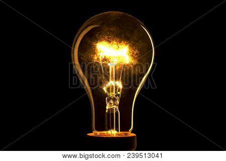 Realistic Light Bulb On The Black Background. Lamp Light In The Dark. Electric Bulb. Glowing Light I