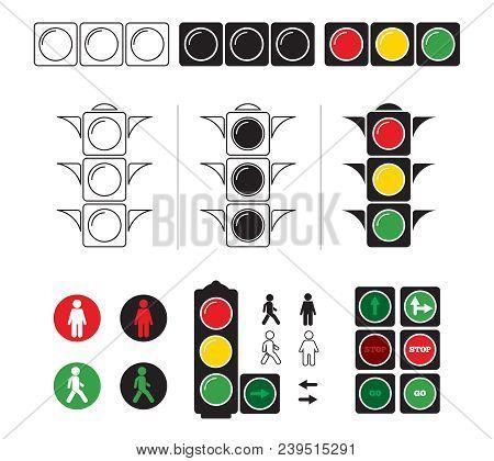 Set Stylized Illustrations Of Traffic Light With Symbols. Vector Stoplight For Transportation On Roa