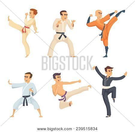 Sport Fighters In Action Poses. Cartoon Characters Isolate On White Background. Vector Art Martial,