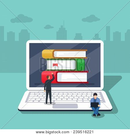 Flat Cartoon Pc With Books, Concept Of Ebook Library, Digital Online Study, Icon Isolated Image. Vec