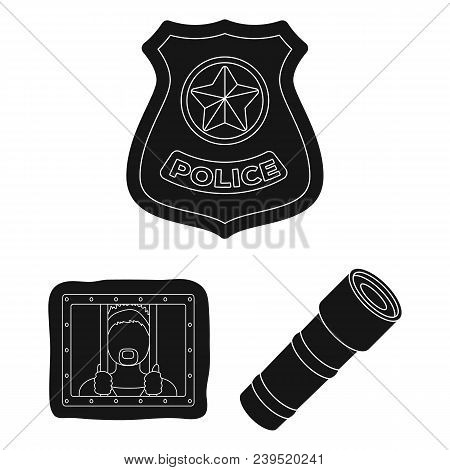 Police, Department Black Icons In Set Collection For Design.detective And Accessories Vector Symbol