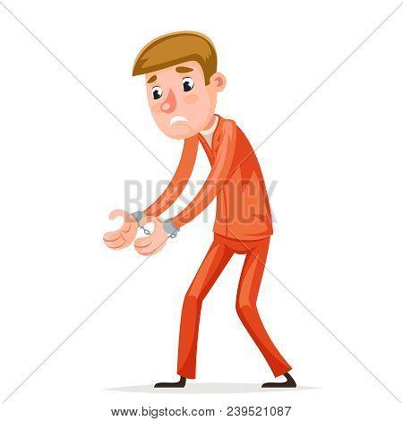 Arrestee Prisoner Caught Handcuffs Burglar Robber Thief Scared Guy Character Isolated Cartoon Icons