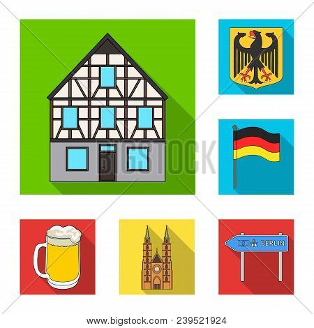 Country Germany Flat Icons In Set Collection For Design. Germany And Landmark Vector Symbol Stock  I