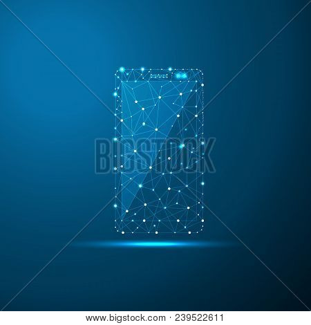 Smartphone Low Poly Illustration, Polygonal Space Low Poly With Connecting Dots And Lines. Connectio
