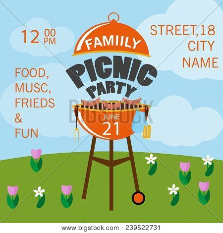Lovely Vector Barbecue Party Invitation Design Template Set. Trendy Bbq Cookout Poster Design With C