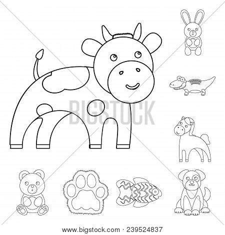 An Unrealistic Animal Outline Icons In Set Collection For Design. Toy Animals Vector Symbol Stock  I