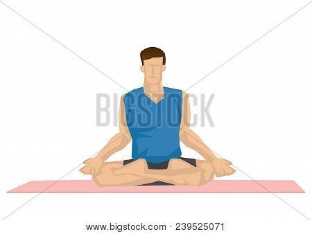 Illustration Of A Strong Man Practicing Yoga With A Lotus Pose. Concept Of Yoga Calmness, Relaxation