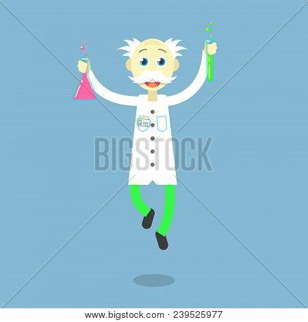 Color Flat Illustration Of A Dancing Professor