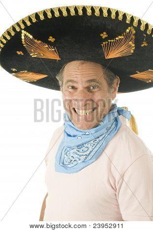 Middle Age Senior Tourist Male Wearing Mexican Somebrero Hat Cowboy Bandana