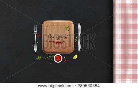 Table With A Checkered Tablecloth. Kitchen Table. Table Setting. Top View. Bon Appetit Lettering. Ve