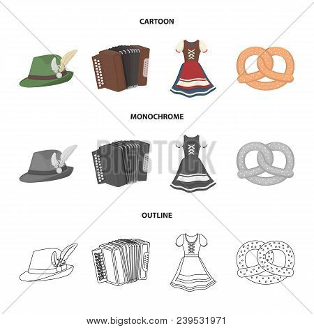 Tyrolean Hat, Accordion, Dress, Pretzel. Oktoberfestset Collection Icons In Cartoon, Outline, Monoch
