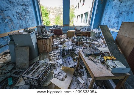 Inside The Former Factory In Pripyat Desolate City In Chernobyl Exclusion Zone, Ukraine