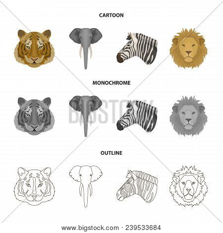 Tiger, Lion, Elephant, Zebra, Realistic Animals Set Collection Icons In Cartoon, Outline, Monochrome