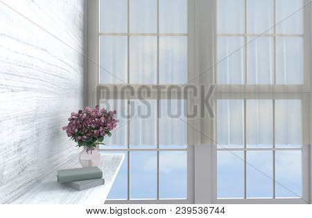 Grey-white Living Room Decor With  Wall Clock, White Wood Wall, Window, Table, Red-pink Rose, Vase,