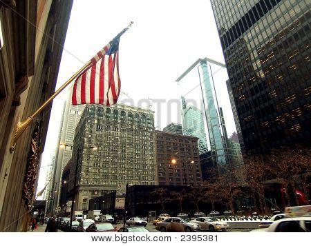 Flag Over Chicago Street