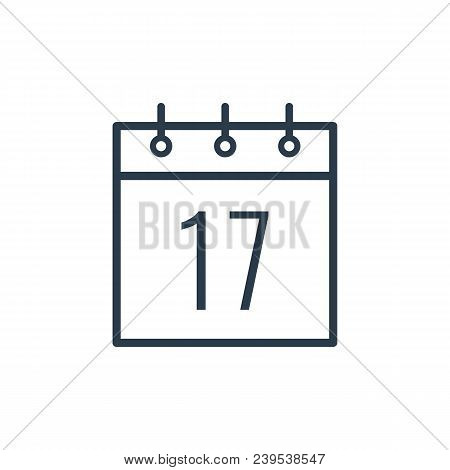 Linear Icon Of The Seventeenth Day Of The Calendar Isolated On White Background.