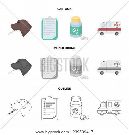 Hospital, Veterinarian, Dog, Thermometer .vet Clinic Set Collection Icons In Cartoon, Outline, Monoc