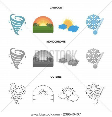 Tornado, Sunrise, Cloudiness, Snow And Frost. The Weather Set Collection Icons In Cartoon, Outline,