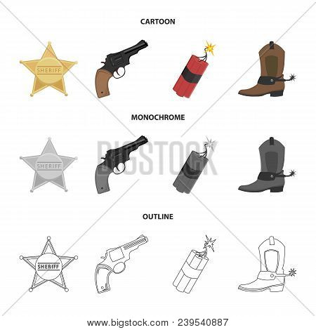 Star Sheriff, Colt, Dynamite, Cowboy Boot. Wild West Set Collection Icons In Cartoon, Outline, Monoc