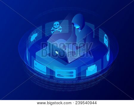 Isometric Vector Internet Hacker Attack And Personal Data Security Concept. Computer Security Techno