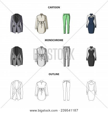 Women Clothing Cartoon, Outline, Monochrome Icons In Set Collection For Design.clothing Varieties An