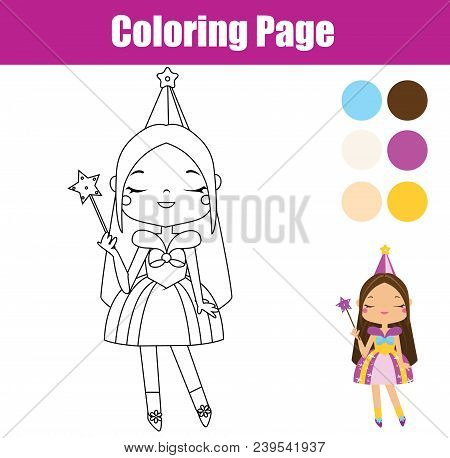 Princess Coloring Page. Color The Picture. Educational Children Game, Drawing Kids Activity, Printab