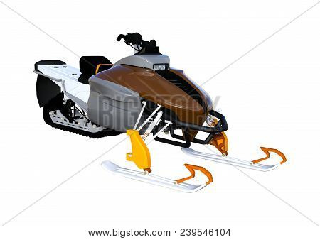 3d Rendering Of A Snowmobile, Or Motor Sled, Motor Sledge, Or Snowmachine, A Motorized Vehicle For W