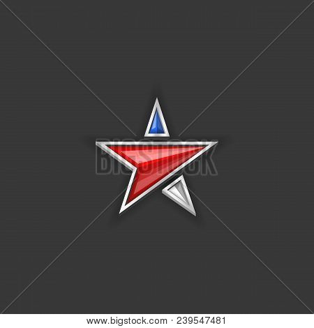 Star Logo Usa Flag Colors. American Independence Day Or Memorial Day Holiday Patriotic Blank Poster