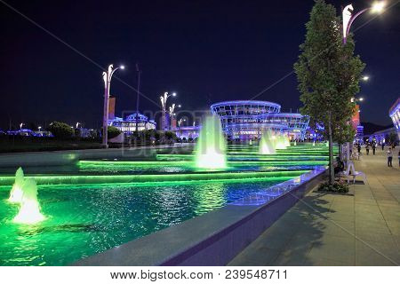 Ashgabat, Turkmenistan -  September 22, 2017: Night View Of The Sport Town, Which Hosted 5 Asian Gam